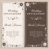 Invitation. Set of wedding invitation cards with orchid flower, vector illustration Stock Image