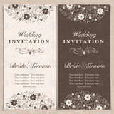 Invitation. Set of wedding invitation cards with orchid flower, vector illustration Royalty Free Stock Photography