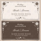 Invitation. Set of wedding invitation cards with orchid flower, vector illustration Stock Photos