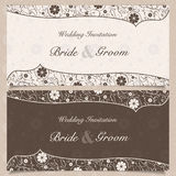 Invitation. Set of wedding invitation cards with orchid flower, vector illustration Stock Photography