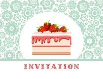 Invitation, strawberry cake, blue and white, floral background, vector. Invitation for birthday, wedding. A holiday, a family celebration. Cake with Royalty Free Stock Photo