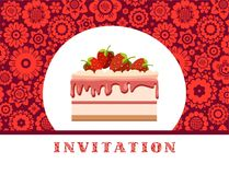 Invitation, strawberry cake, dark red, floral background, vector. Invitation for birthday, wedding. A holiday, a family celebration. Cake with strawberries on a Royalty Free Stock Image