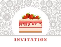 The invitation, strawberry cake, white and gray floral background, vector. Invitation for birthday, wedding. A holiday, a family celebration. Cake with Royalty Free Stock Images