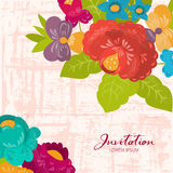 Invitation with summer flowers Royalty Free Stock Photos
