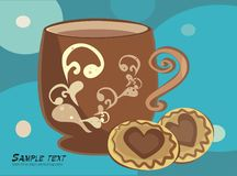 Invitation for the tea. Vector drawing of the cup with tea and choko cakes Stock Image