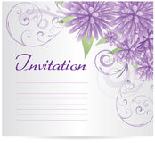 Invitation template blank with purple abstract flowers Stock Photos