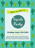 Invitation template with cacti for tequila party. Or event Stock Photos
