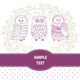 Invitation template with cute owls. Royalty Free Stock Images