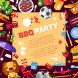 Invitation template of flat design barbecue Stock Images