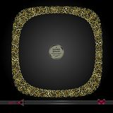 Invitation template frame, pattern with rounded edges. On a black background. Gold colour Stock Image