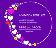 Invitation. Template invitations colorful circular heart. Purple background.. Suitable for weddings, parties and other holiday. Vector illustration Royalty Free Stock Images