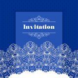 Invitation template with lace border Stock Images