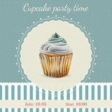 Invitation template with watercolor cupcakes. Invitation template  with watercolor cupcakes illustration and typographic in retro style Royalty Free Stock Image