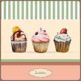 Invitation template with watercolor cupcakes. Invitation template  with watercolor cupcakes illustration and typographic in retro style Stock Photos