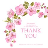 The thank you card. Invitation text card with Thank You sign. Pink flowers garland at the top of holiday card isolated over white background and text place Stock Image