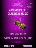 Invitation ticket to the concert with a picture of a violin on a purple background. Stock Photography