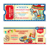 Invitation Tickets To Carnival In Amusement Park Stock Photos