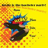 An invitation to a bachelor party in the style of comics. The original design in the style of comics Royalty Free Stock Photography