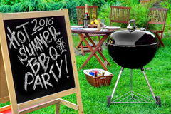 An Invitation To A Barbecue Party, Written on Blackboard Royalty Free Stock Photo