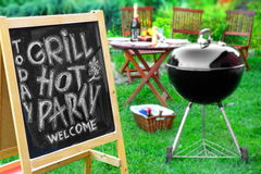 An Invitation To A Barbecue Party, Written on Blackboard Royalty Free Stock Photos