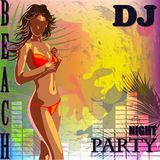 An invitation to a beach party. Nightclub beach party advertising poster with beautiful sexy bikini girl Stock Images