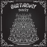 Invitation to the birthday party with birthday cake on the chalkboard.  Royalty Free Stock Images