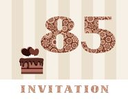Invitation, 85 years old, chocolate cake, heart, vector. The invitation to the birthday party. Color card. Chocolate cake with hearts. English Royalty Free Stock Photo