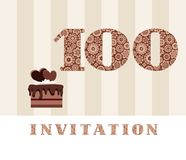 Invitation, 100 years old, chocolate cake, heart, vector. The invitation to the birthday party. Color card. Chocolate cake with hearts. English Stock Images