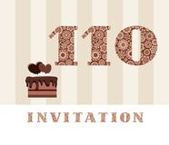 The invitation, 110 years, chocolate cake, heart-shaped, vector. The invitation to the birthday party. Color card. Chocolate cake with hearts. English vector illustration