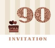 Invitation, color, 90 years old, chocolate cake, heart-shaped, vector. The invitation to the birthday party. Color card. Chocolate cake with hearts. English Royalty Free Stock Images