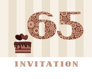The invitation, 65 years old, chocolate cake, heart-shaped, vector. The invitation to the birthday party. Color card. Chocolate cake with hearts. English stock illustration