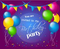 Invitation to birthday party Stock Photography