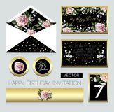 Invitation to birthday party, an envelope, a room number for a table and others. Design with pink roses. And gold elements Royalty Free Stock Images