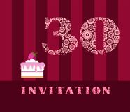 Invitation, 30, raspberry pie, vector, English. The invitation to the birthday party. Wedding anniversary. Color card. Berry cake with raspberries on a striped Stock Image