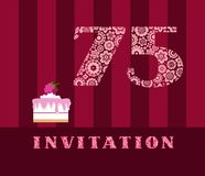 Invitation, 75 years old, raspberry pie, vector, English. The invitation to the birthday party. Wedding anniversary. Color card. Berry cake with raspberries on Stock Images
