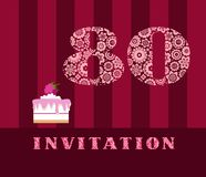 Invitation, 80, raspberry pie, vector, English. The invitation to the birthday party. Wedding anniversary. Color card. Berry cake with raspberries on a striped Royalty Free Illustration