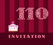 The invitation, 110 years, cake with raspberries, vector, English. The invitation to the birthday party. Wedding anniversary. Color card. Berry cake with stock illustration