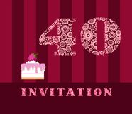 Invitation, 40 years old, raspberry pie, vector, English. The invitation to the birthday party. Wedding anniversary. Color card. Berry cake with raspberries on vector illustration
