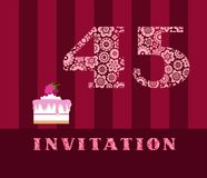 Invitation, 45 years old, raspberry pie, vector, English. The invitation to the birthday party. Wedding anniversary. Color card. Berry cake with raspberries on Stock Photography