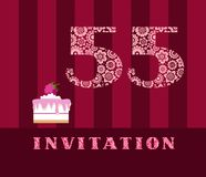 Invitation, 55 years old, raspberry pie, vector, English. The invitation to the birthday party. Wedding anniversary. Color card. Berry cake with raspberries on Stock Photos