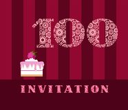 Invitation, 100 years old, raspberry pie, vector, English. The invitation to the birthday party. Wedding anniversary. Color card. Berry cake with raspberries on Stock Images