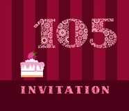 Invitation, 105 years old, raspberry pie, vector, English. The invitation to the birthday party. Wedding anniversary. Color card. Berry cake with raspberries on Stock Image