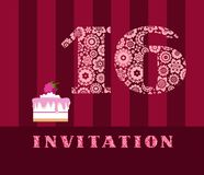 Invitation, 16 years old, cake, color, vector. The invitation to the birthday party. Wedding anniversary. Color card. Cake with raspberries Royalty Free Stock Images
