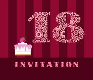 Invitation, 18 years old, cake, color, vector. The invitation to the birthday party. Wedding anniversary. Color card. Cake with raspberries Royalty Free Stock Photos