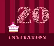 Invitation, 20 years, cake, color, vector. The invitation to the birthday party. Wedding anniversary. Color card. Cake with raspberries Stock Images