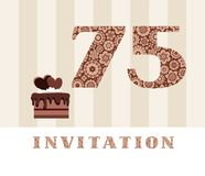 The invitation, 75 years old, chocolate cake, heart-shaped, vector. The invitation to the birthday party. Wedding anniversary. Color card. Chocolate cake with Royalty Free Stock Image