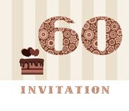Invitation, 60 years old, chocolate cake, heart, vector. The invitation to the birthday party. Wedding anniversary. Color card. Chocolate cake with hearts Stock Illustration