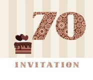 Invitation, 70 years old, chocolate cake, heart, vector. The invitation to the birthday party. Wedding anniversary. Color card. Chocolate cake with hearts Stock Photo