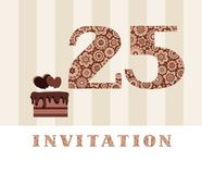 Invitation, 25 years old, chocolate cake, heart, vector. The invitation to the birthday party. Wedding anniversary. Color card. Chocolate cake with hearts Stock Photos