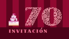 Invitation to the celebration, 70 years, berry cake, Spanish, vector royalty free stock photos